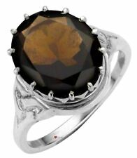 Stone Mounted Celtic Knotwork Size K Ring Crafted Sterling Silver Smokey Quartz
