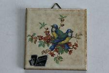Deko Kachel/Wand Fliese, Silberdistel Fayencen, Vogelmotiv, 7,5 x 7,5 cm