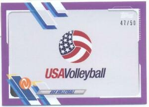USA Volleyball Logo 2021 Topps Now Athletes Unlimited Purple #47/50