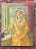 1926 American Impressionist Portrait Lady In Yellow Dress Signed Jeannette Scott