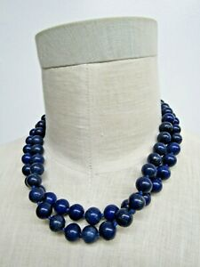"Blue Lapis Lazuli Beaded Necklace / Silver Tone Clasp 17"""