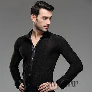 Men Dance Shirt Ballroom Modern Salsa Samba Smooth Latin Floral Tango Black New