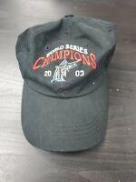 Vintage Miami Marlins World Seires 2003 Adjustable Strap Black Baseball Hat Cap