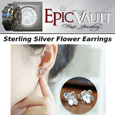 EPIC FASHION- Elegant 925 Sterling Silver Flower Stud Earrings