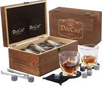 Whiskey Glasses Set of 2 - Bourbon Whiskey Stones and Whiskey Rocks Gift Set