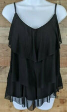 Jaclyn Smith Swimsuit Top Mesh Waterfall Tiered Black Spaghetti Strap Size 18