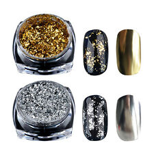 Gold Silver Glitter Flakes Magic Mirror Effect Powders Sequins Nail Gel Polish