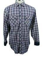 Banana Republic Mens Button Front Shirt Large Long Sleeve Plaid Flip Cuffs