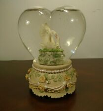 """Beautiful Swans Heart Shaped Musical Snow Globe Plays """"You Light Up My Life"""""""