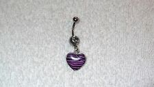 Heart Purple Black Zebra Print Belly Button Navel Ring Body Jewelry Piercing 14g