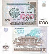 UZBEKISTAN 1000 SUM 2001 P 82 LOTE DE 5 BILLETES