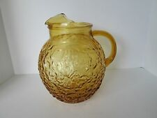 Vintage Anchor Hocking Glass Lido Milano Amber Gold Water Serving Pitcher Retro