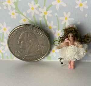 Dollhouse Miniatures Doll Ethel Hicks Angel Child Ballerina Micro Tiny Girl 1:12