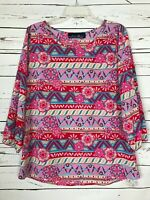 Blue Rain Boutique Women's M Medium Pink Blue Floral Cute Fall Blouse Top Shirt