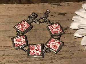 Recycled Porcelain Jewelry, Sutherland Red White Floral Bracelet, Adjustable