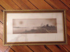 Vintage Antique Coastline Water Boats Maritime Houses Sepia Gold Framed Etching