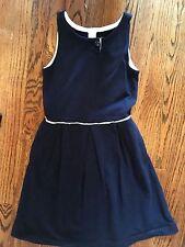J Crew Crewcuts Girls EUC 4 Navy blue jersey knit dress Nautical !!!