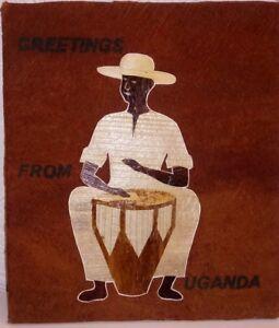 Drumming art Souvenir from Uganda, Africa Greetings from Uganda