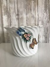 Original BASSANO Handarbeit White Butterfly Floral Pot Made In Italy* RARE!