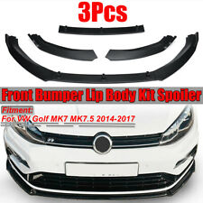 for VW Golf MK7 MK7.5 2014-2017 3PCS Matte Front Bumper Lip Body Kit Spoiler