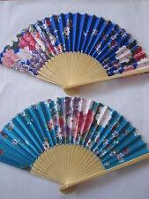 2 x Handfächer Fächer Taschenfächer Sommerfächer aus Bambus und Stoff