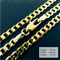 Necklace Pendant Chain Real 18k Yellow G/F Gold Solid Curb Link Design 21.7""
