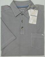 NEW $99 Tommy Bahama Gray Shirt Mens Tropicool Del Rey Stripe Polo Short Sleeve