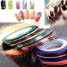 30 Farben Aufkleber Nagel Folie Nail Art Sticker Striping DIY Tattoo Tips V01