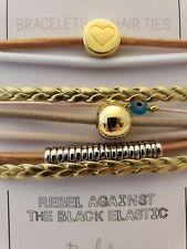 Set Of 8 Stackable Bracelet/Hair Ties in Gold/Tan/Peach