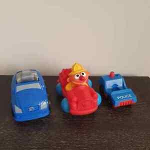 3 used vintage toy cars Sesame Street Ernie Fisher Price older style