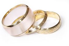 A Set of One Transparent Wide Bangle & Two Thin Victorian Gold Bracelets (T206)