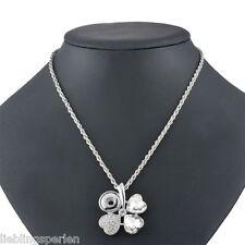 1 Halskette Weckselschmuck für Click Buttons Weiß Strass Klee Anhänger 54cm LP
