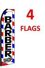 4 (four) BARBER SHOP red/wh/bl2 11.5' SWOOPER #1 FEATHER FLAGS BANNERS