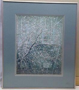 Nielsen frame 17x20 brushed aluminum gray matboard winter scene print 10.5x13.5