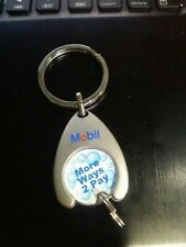 Vintage Mobil Gas More Ways 2 Pay Keychain Metal Fob Exxon Station Keyring