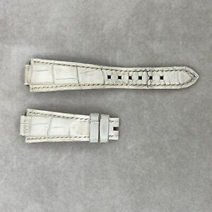 Harry Winston Auth 19 mm x 16 mm Ivory Alligator Leather Watch Band Strap