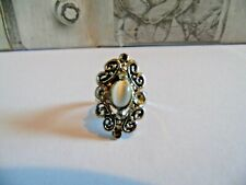 Style Ring with Moonstone Silver Tone Ornate Art Deco