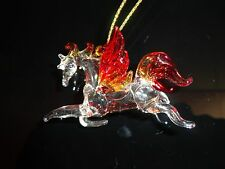 Hanging Pegasus Red Yellow Clear Figurine of Blown Glass Crystal