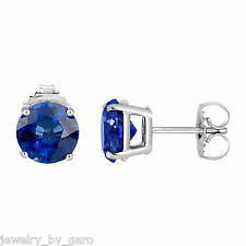 PLATINUM NATURAL BLUE SAPPHIRE STUD EARRINGS 1.00 CARAT CERTIFIED BIRTHSTONE