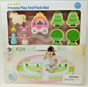 J'adore Princess Play and Pack Mat Wood Block Toys