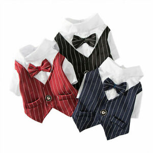 Pet Clothes Formal T Shirt Puppy Dog Cat Wedding Party Bowtie Tuxedo Vest Suit
