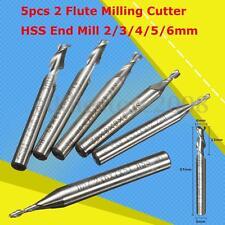 5Pcs HSS 2 Flute Milling Cutter 2/3/4/5/6mm End Mill CNC Engraving Bit Tool Set