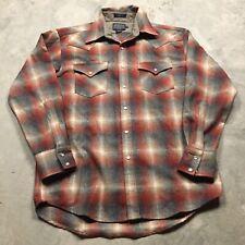 PENDLETON CANYON WESTERN Shirt M Shadow Plaid Snap Red Brown Flannel VTG Gray