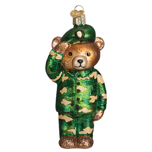Old World Christmas ARMY BEAR (12402)N Patriotic Glass Ornament w/Owc Box