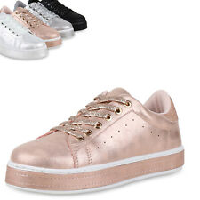 Damen Plateau Sneaker Metallic Glitzer Schuhe Turnschuhe Schnürer 820818 Top