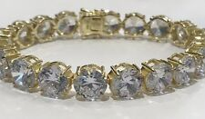 Sterling Silver 925 Yellow Gold Plated Tennis Bracelet CZ 8 Inch 10 MM
