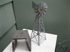 Vtg Galvanized Metal Model Train/Outdoor Spinning Folk Art Windmill w/Ladder
