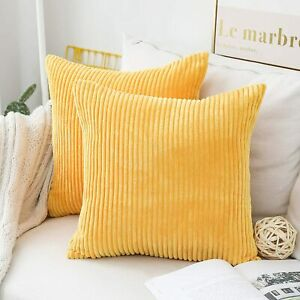 4 Pack 18x18 Throw Pillow Covers Decorative Striped Velvet Square Mustard