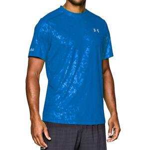under armour mens coldblack run short sleeve running shirt fitted blue jet large