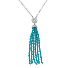 Sterling Silver Drop Necklace w/ CZ Stones Flower & Turquoise Beads Strands